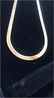 "Gold tone herringbone necklace - no markings 20"""
