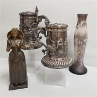 Antique Silver Tankards, Bronze, D'Argental Cameo Vase