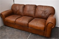Brown Leather 3 Cushion Couch.
