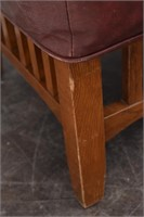 Mission Style Foot Stool Wood w/Leather