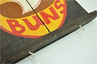 """Wooden Hand Painted """"Hot Buns"""" Decor Sign"""