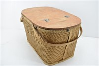 RED MAN Vintage Wicker Wood Picnic Basket