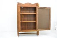 Wood Hanging Medicine Cabinet w/Mirror & Towel Bar