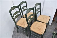 (6) Painted Country Dining Chairs w/Woven Rush