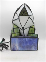 Tiffany Style Stained Art Glass Frog Table Lamp