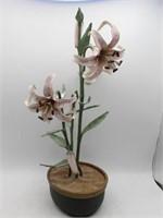 Pair of Italian Metal Work Flower Decor Pieces