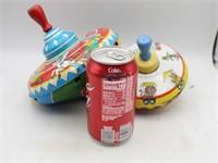 (2) Vintage OHIO ART Tin Toy Tops