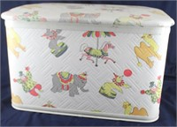"""1950's Pearl Wick """"GAYTIME"""" Quilted Vinyl Toy Box"""
