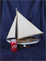 Wood Sailboat w/ Net, Ores, Bucket & Fish Trap
