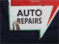 Coca-Cola Gas Oil Auto Repair Tin Repro Arrow Sign