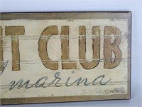 YACHT CLUB and Marina Wall Plaque-Signed-GB Zeitz