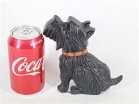 Cast Iron Black Scottie Dog Door Stop w Red Collar