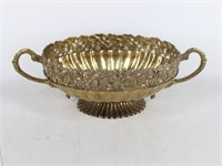 Mid Century Two-Handled Brass Compote Fruit Bowl