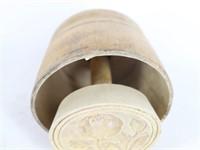 Antique Wood Butter Mold Carved Design Stamp