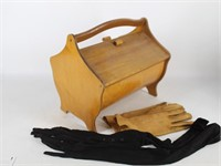 Wooden Sewing Caddy, Ladies Leather Gloves & Black