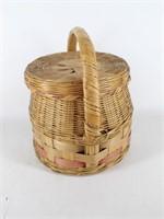 Lidded Wicker Basket w Snake Charmer Style Handle