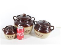 3-Maple Leaf Monmouth Stoneware Bean Pot Canisters