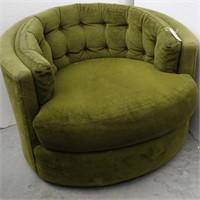 Retro Green Mid Century Swivel Barrel Style Chair