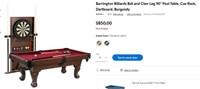 "W1544   90"" Pool Table, Cue Rack & Dartboard"