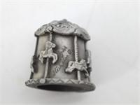 Nicholas Gish Pewter Carousel w/ Horses Thimbles