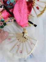 Korean Asian Fan Dance 3 Dolls Figurine