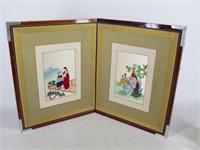 Asian Japanese Folding Silk Screen Embroidery Art