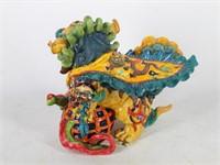 "Resin ""Jade"" Dragon & Palace Fu Dog Guardian Lion"