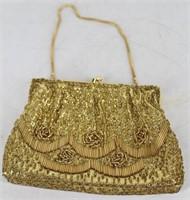 Ladies Gold Beaded Evening Bag