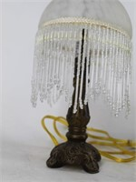 Small Boudoir Vanity Lamp w/Beaded Glass Shade