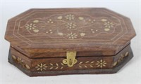 Small Vintage Jewelry Box with Brass Inlay Design