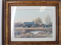 Gene Speck Barn Print and Framed Narrow Mirror