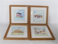 "Set of 4 Disney ""Winnie the Pooh"" 4 Seasons Prints"