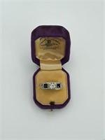 14K White Gold, Diamond and Sapphire Ring