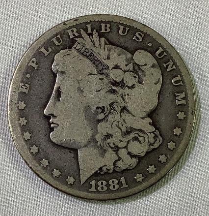 1881 CC US Morgan silver dollar