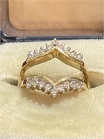 14K Yellow Gold and Diamond Ring Guard