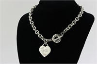 Tiffany & Co Heart Toggle Necklace Sterling Silver