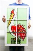 Hand Painted Pelican Antique Window