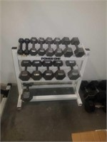 Metal dumbbells with dumbbell rack