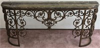 Marble and Wrought Iron Entry Table