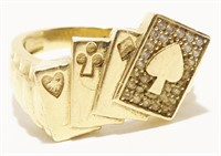 10K Y Gold Four Card Poker Players Ring Sz 10 4.3g