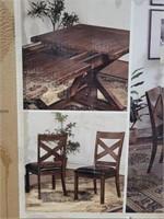 7 Pc Dark Wood Dining Table Set