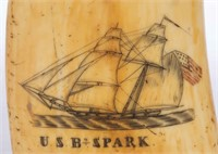 Detail of a scrimshaw-decorated whale's tooth