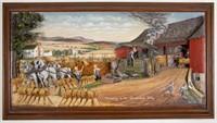 "Abner Zook (Pennsylvania, 1921-2010) mixed-media historical diorama, titled ""Thrashing in the Shenandoah Valley"", 24 3/4"" x 44 3/4"" OA"