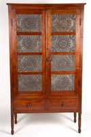 Fine Shenandoah Valley of Virginia punched-tin-paneled tiger maple food / pie safe, probably Augusta or Rockbridge Co., tins attributed to the shop Of Moses and William Alexander, Waynesboro, VA