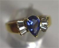 18K Blue Tanzanite & Baguette Diamonds Dinner Ring
