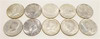 10x 1964 Silver Kennedy Half Dollars