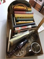Box of books, picture frame, mugs