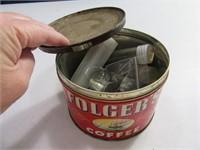 Tin Folgers Can w/ Buffalo Nickels & Old Pennies