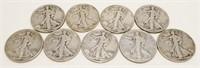 9x 1940's Walking Liberty Silver Half Dollars