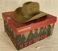 Vintage Stetson hat with snakeskin band adorned